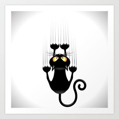 Black Cat Cartoon Scratching Wall Art Print.