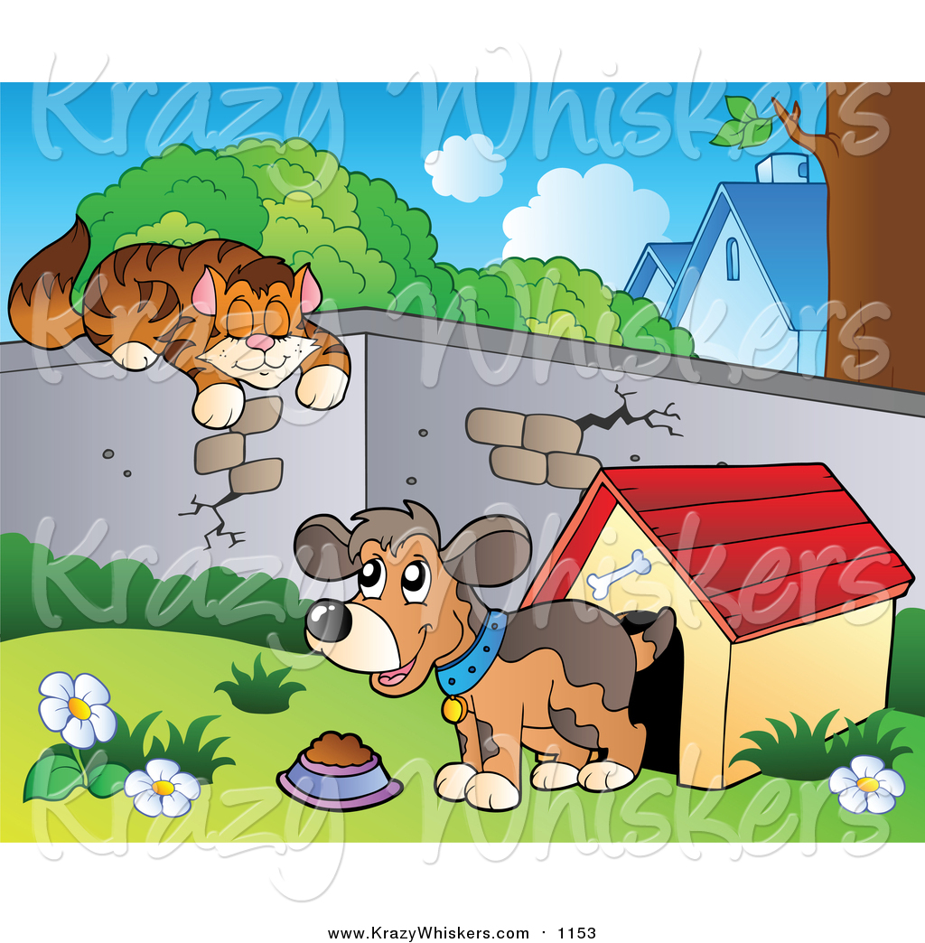 Critter Clipart of a Cat Sleeping on a Wall over a Dog by a House.