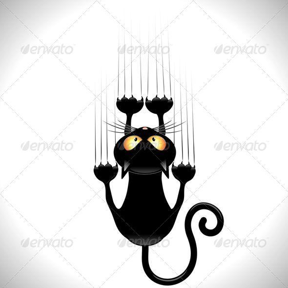 Black Cat Cartoon Scratching Wall.