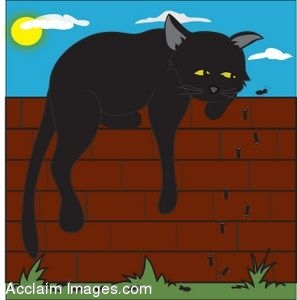Clip Art of a Cat Laying on a Garden Wall Watching Ants Crawl.