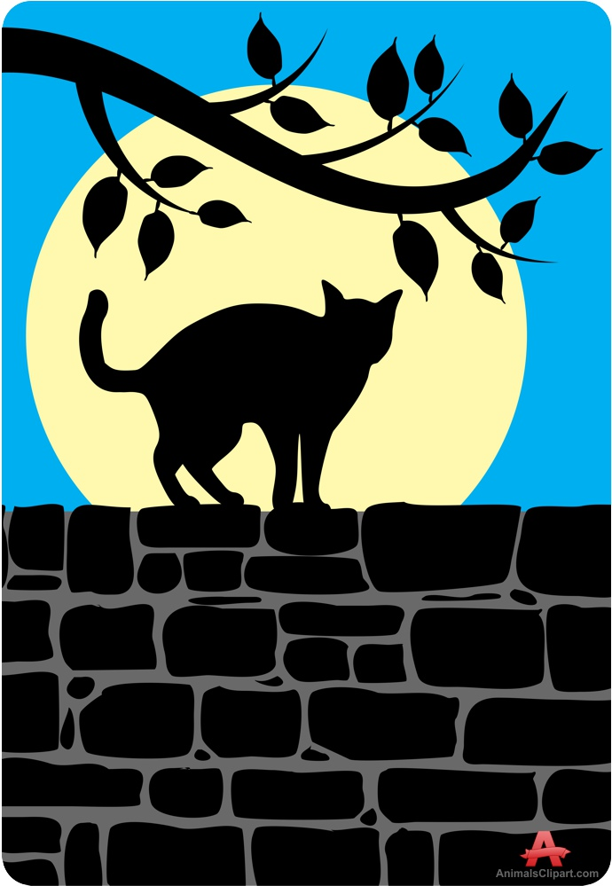 Cat Standing on Stone Wall.