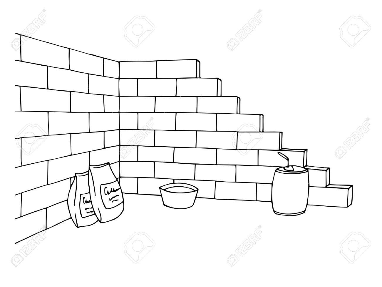 Construction brick wall building graphic art black white illustration...