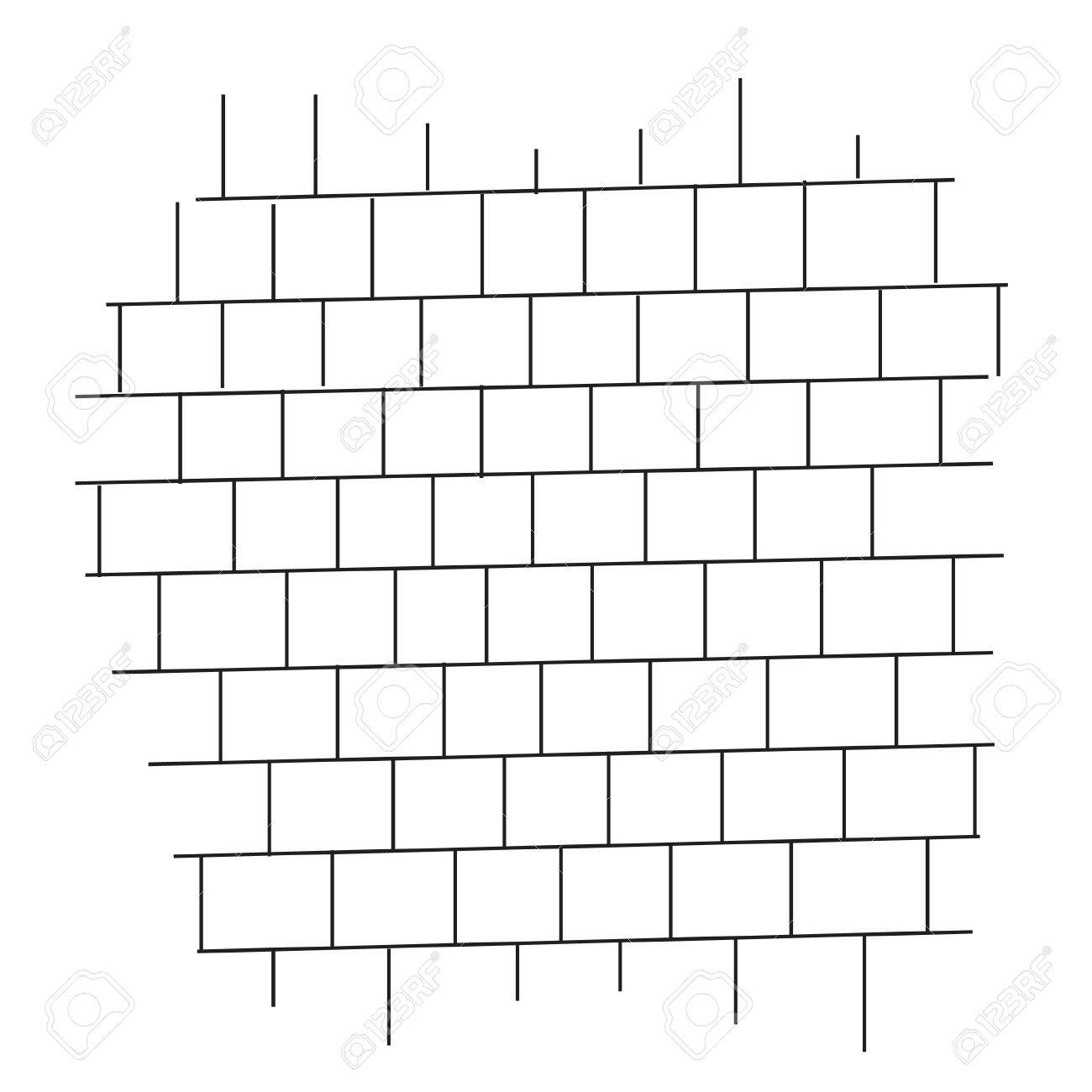 brick wall black and white vector.
