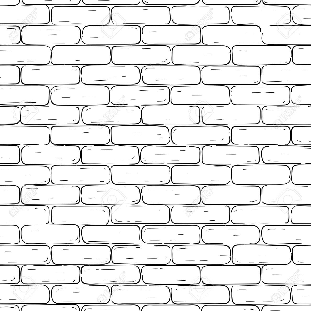Brick wall background. Black and white texture. Vector illustration.