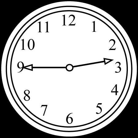 Black and White Clock Quarter to the Hour.