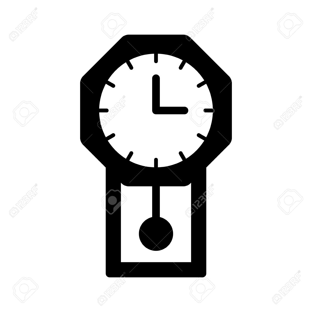 Vintage Pendulum Wall Clock Flat Icon For Apps And Websites.