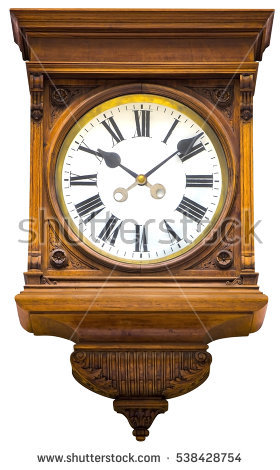 Antique Wall Clock Stock Images, Royalty.