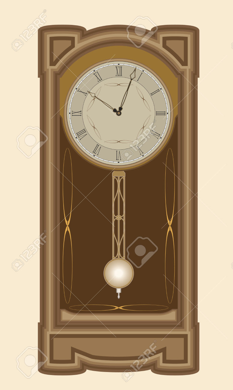 Wall Clock With Pendulum Royalty Free Cliparts, Vectors, And Stock.
