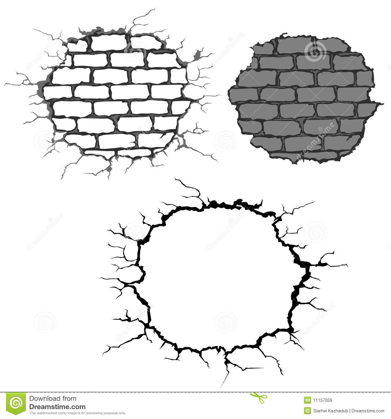 Cracked Brick Wall Clipart.
