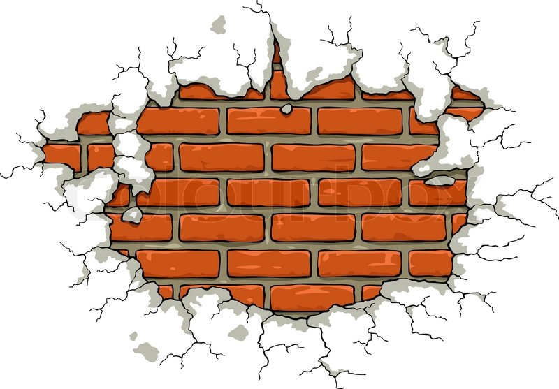 Cracked Brick Wall Clipart.