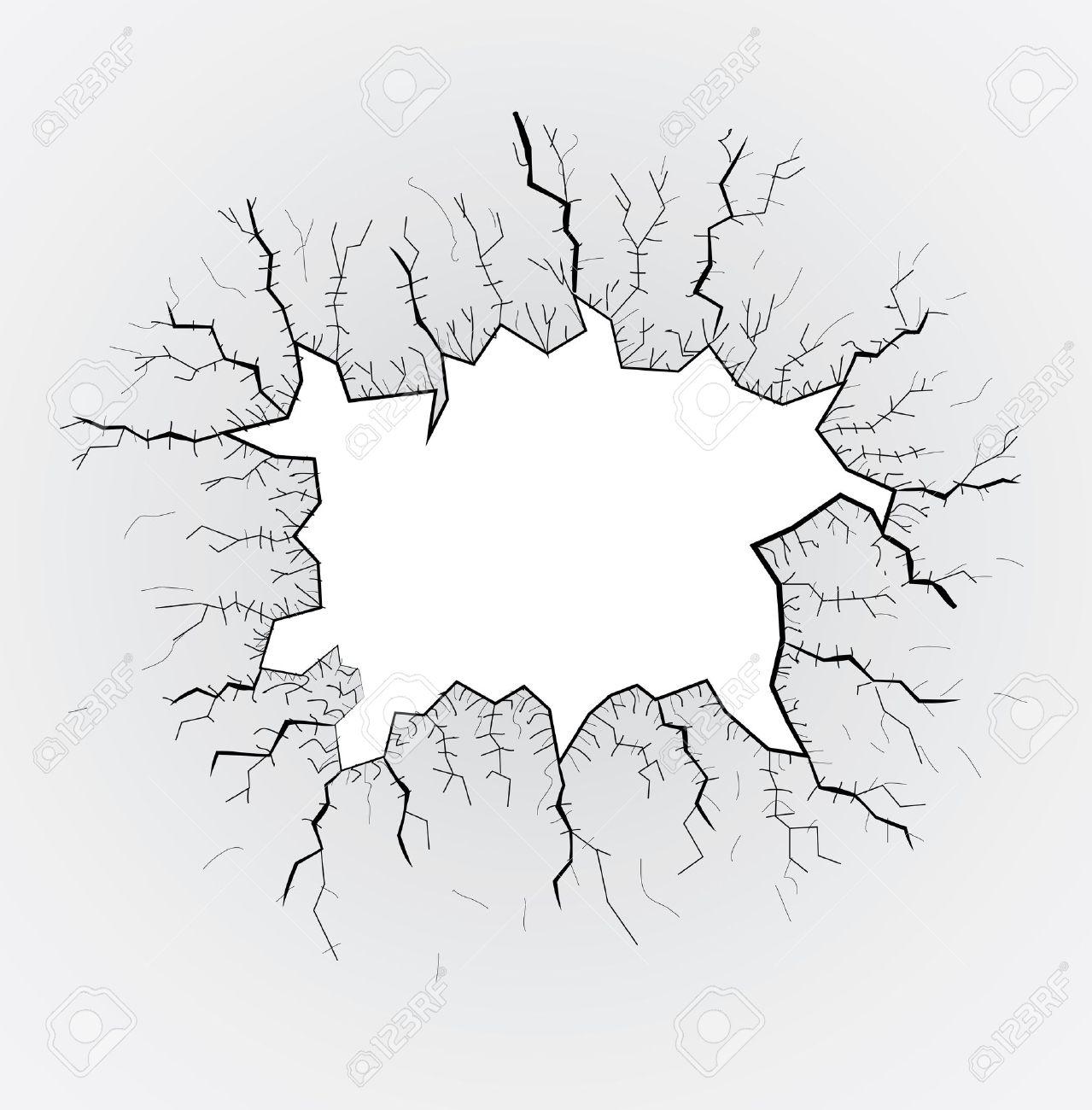 broken glass table, cracks, illustration.