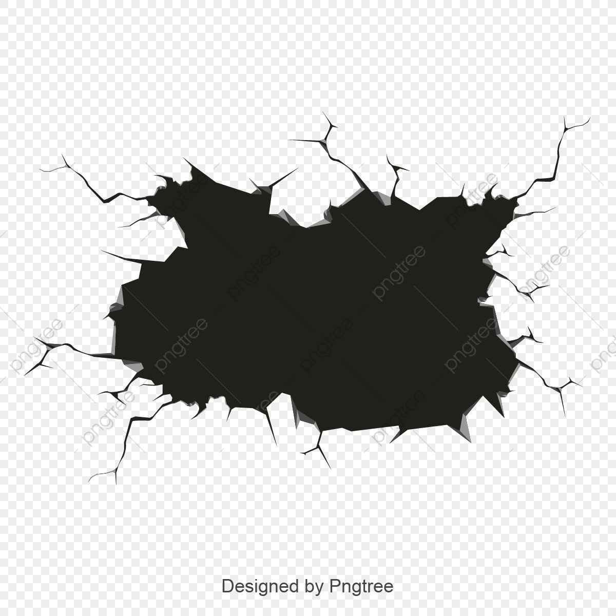 Wall Crack, Black, Wall PNG and Vector with Transparent Background.