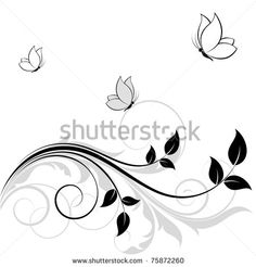 Flowers, Butterfly, Tendril Royalty Free Stock Photo.