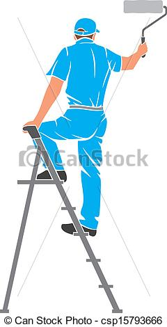 Clip Art Vector of man painting the wall.