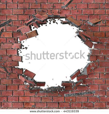 3d Render, 3d Illustration, Explosion, Cracked Red Brick.