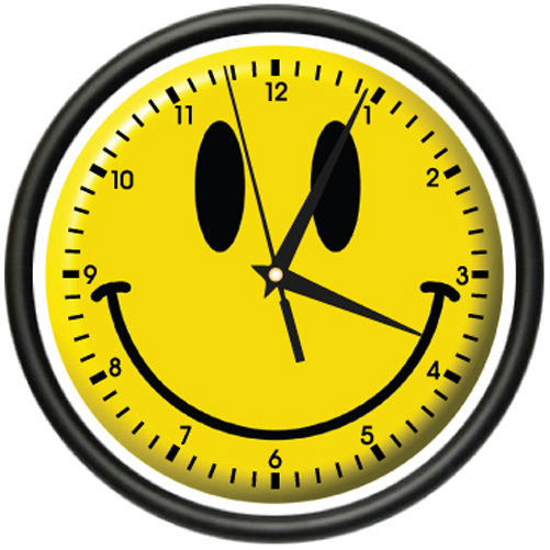 Clock With Happy Face Clip Art.