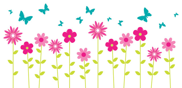 Flower Wall Decals, Floral Wall Decor, Butterfly Wall Decals, Wall.