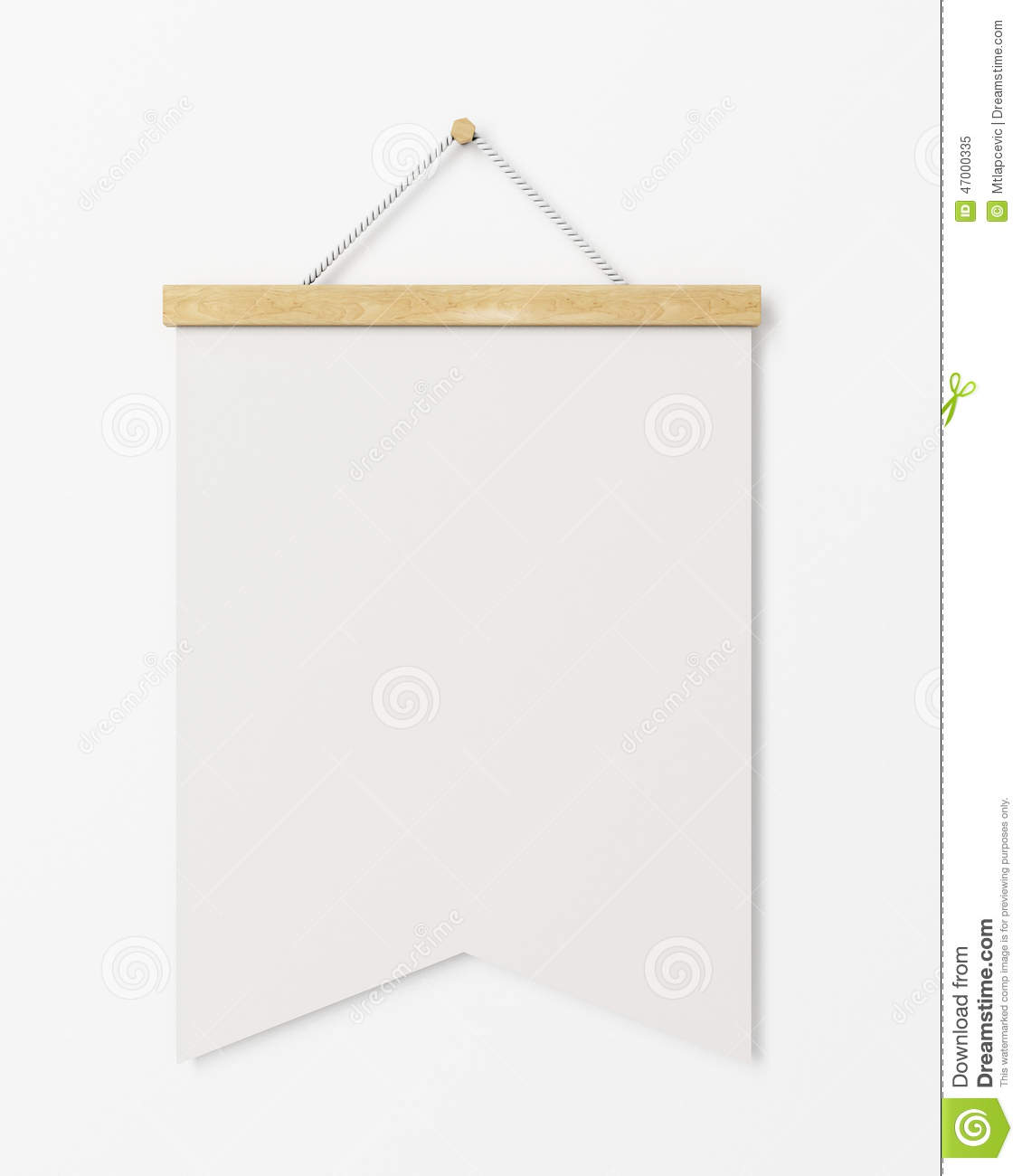Mock Up Blank Poster Flag With Wooden Frame Hanging On The White.