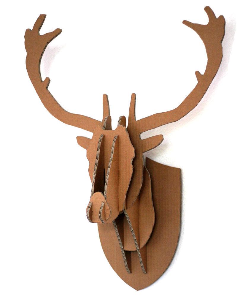 Cardboard Box Stag Deer Head Wall Hanging.