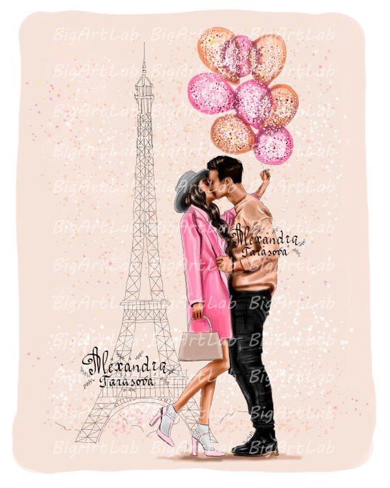 Instant download clipart paris couple fashion download.