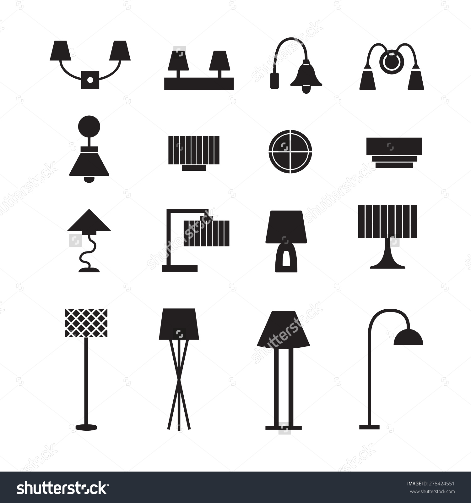 Outline Lamp Icon Set Thin Line Style Flat Design Vector.
