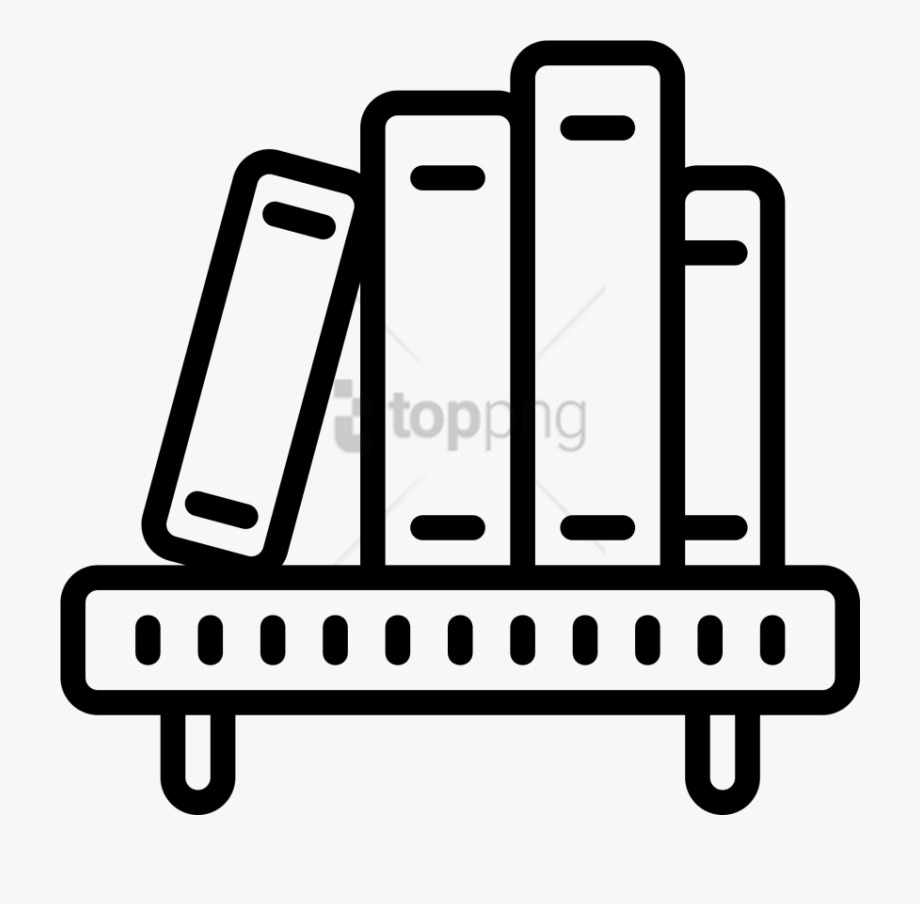 Book Black And White Clipart Shelf.
