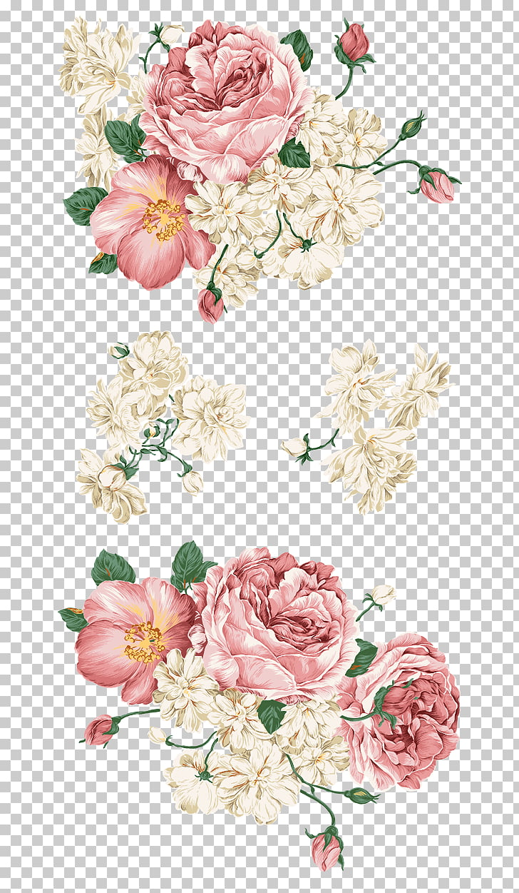 Flower Wall decal, Flowers, white and red rose PNG clipart.