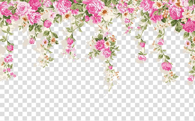 White, pink, and green floral illustration, Paper Wall.