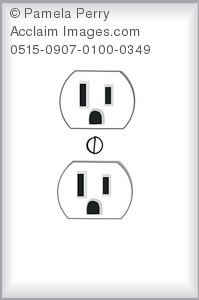 Clip Art Illustration of a Standard Electrical Wall Outlet.