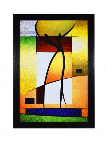 2 Abstract Figure Art Wall Painting With Glass And Frame.