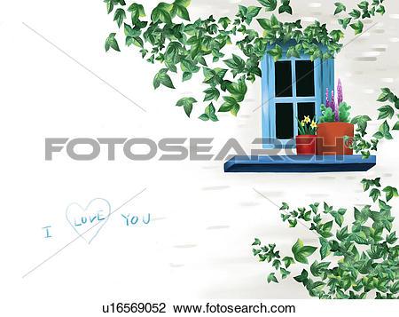 Clip Art of leaves, wall, plant, flower, plantpot, ivy, window.