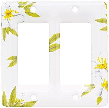 Brainerd 64528 Ceramic Double Decorator Wall Plate / Switch Plate.