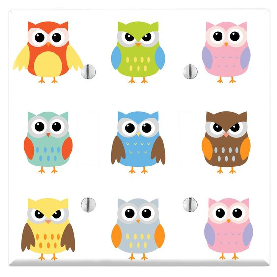 Cute Owl Pattern Decorative Wall Plate Cover (.