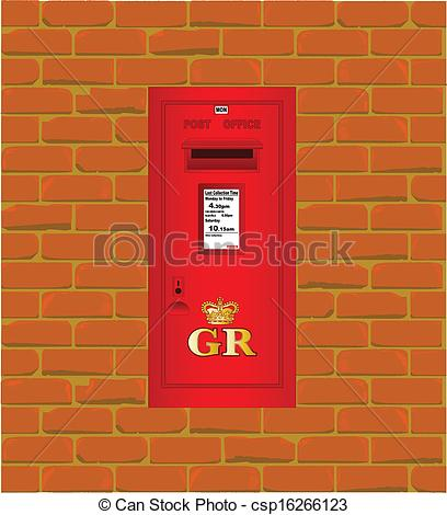 Vector Illustration of Wall Mounted Post Box.