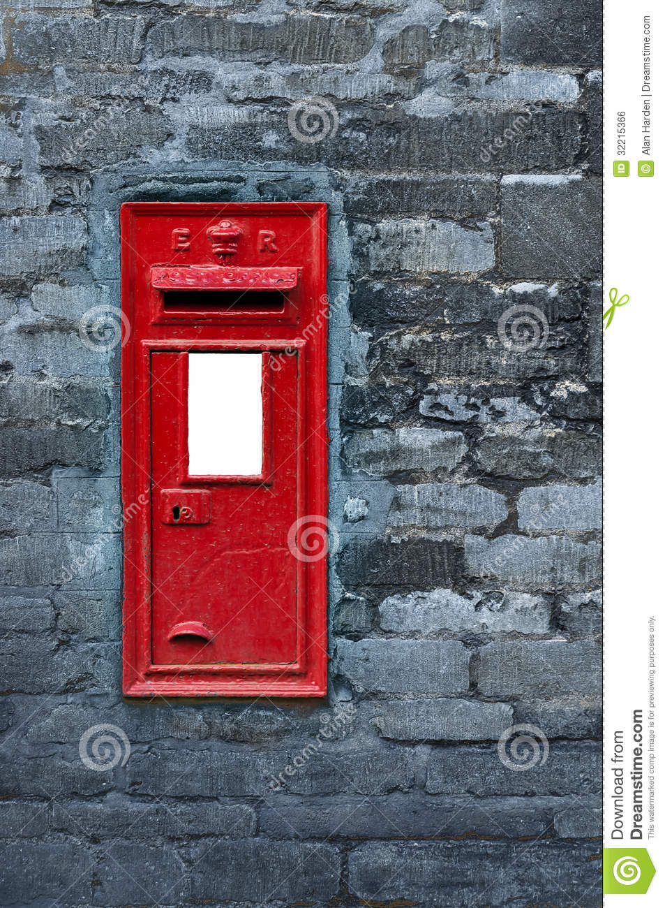 Red Post Box Set In Wall Royalty Free Stock Image.
