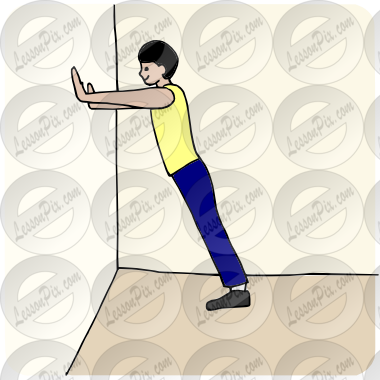 Wall Push Ups Picture for Classroom / Therapy Use.