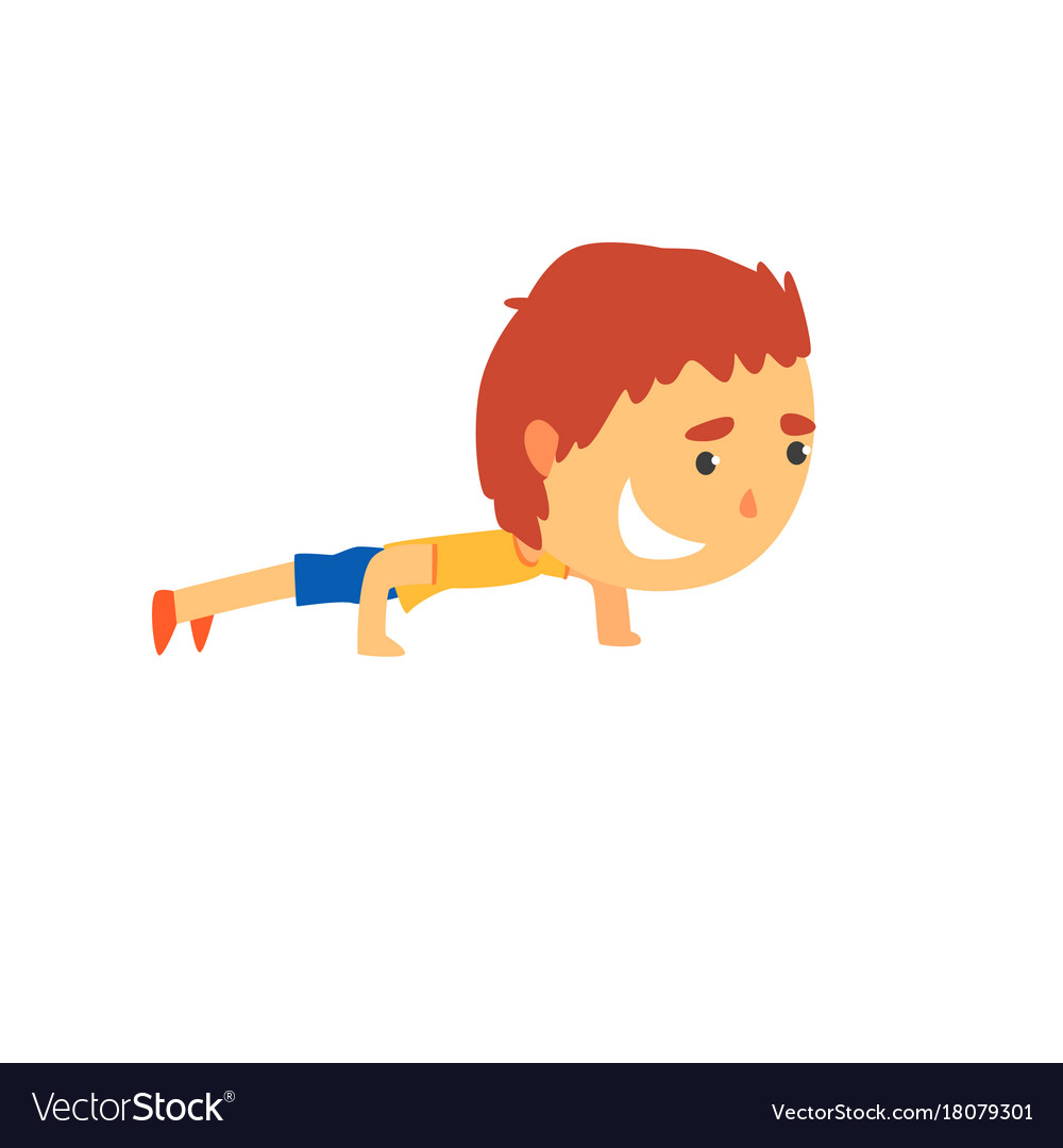 Sportive boy doing push up kids physical activity vector image.
