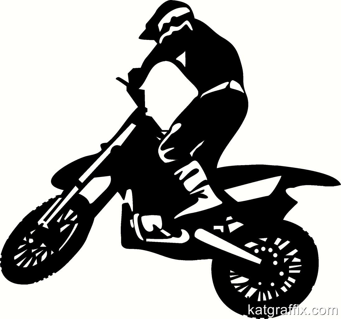 Wall Van Trailer Vinyl Decal Sticker Art Motocross Rider clipart.