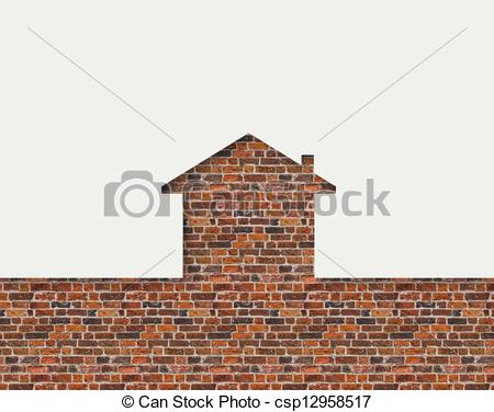 Clipart of House shaped white wall with bricks behind csp12958517.