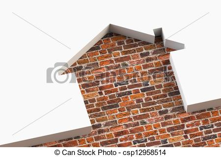 Clipart of House shaped white wall with bricks behind csp12958514.