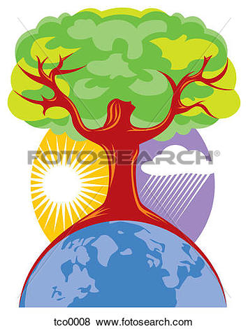 Stock Illustration of A tree shaped like a woman symbolizing Earth.