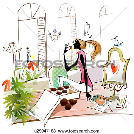 Stock Illustration of Side profile of a woman eating heart shaped.