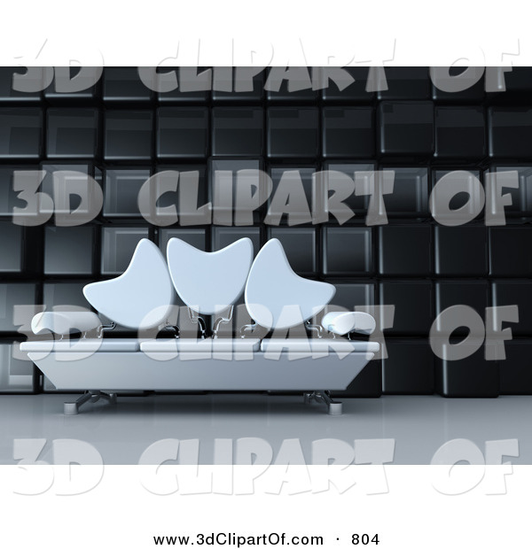 3d Clip Art of a Modern Living Room or Office Lobby Interior with.