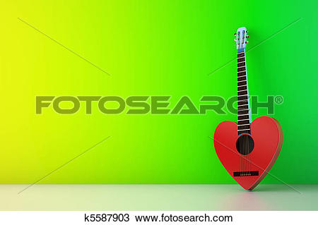Drawing of heart shaped red guitar against green wall k5587903.