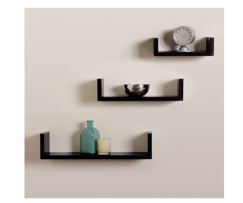 Storage Wall Shelf Rack Set Of 3 U Shape Wall Shelves Black.