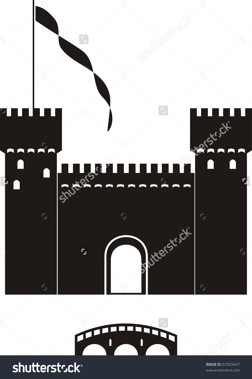 Vector Knights Castle Black Silhouette Isolated Stock Vector.