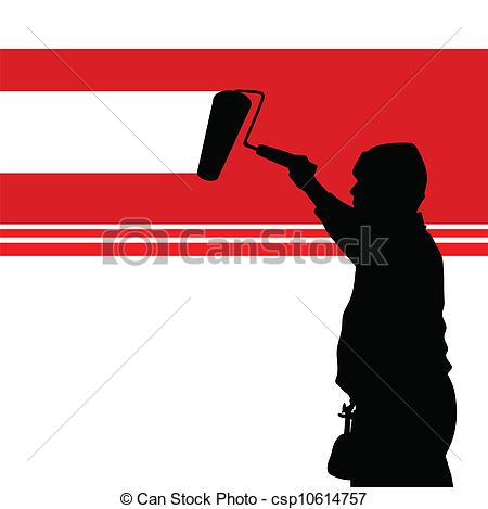 Clipart Vector of painting red wall illustration and worker black.