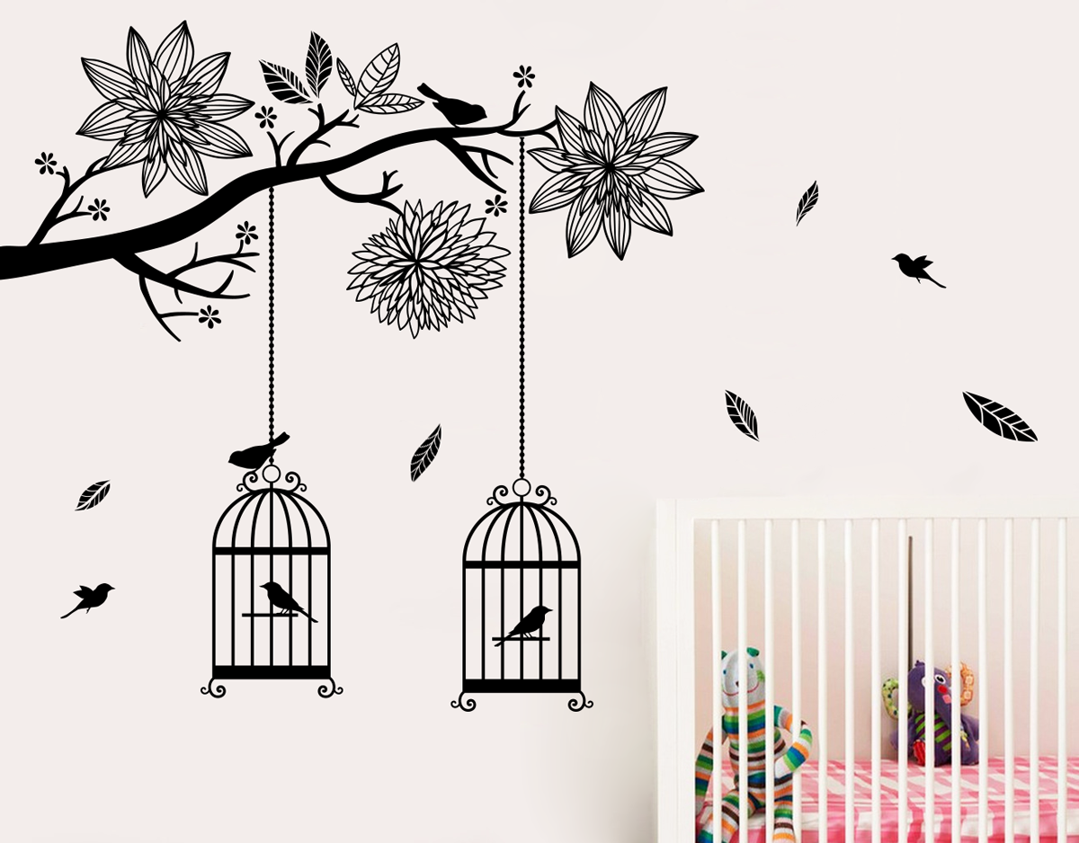 Bird cages in tree.