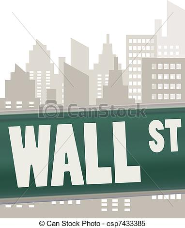 wall street sign plate on green.