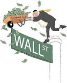 Stock Illustration of Wall Street Banker and Golden Parachute.